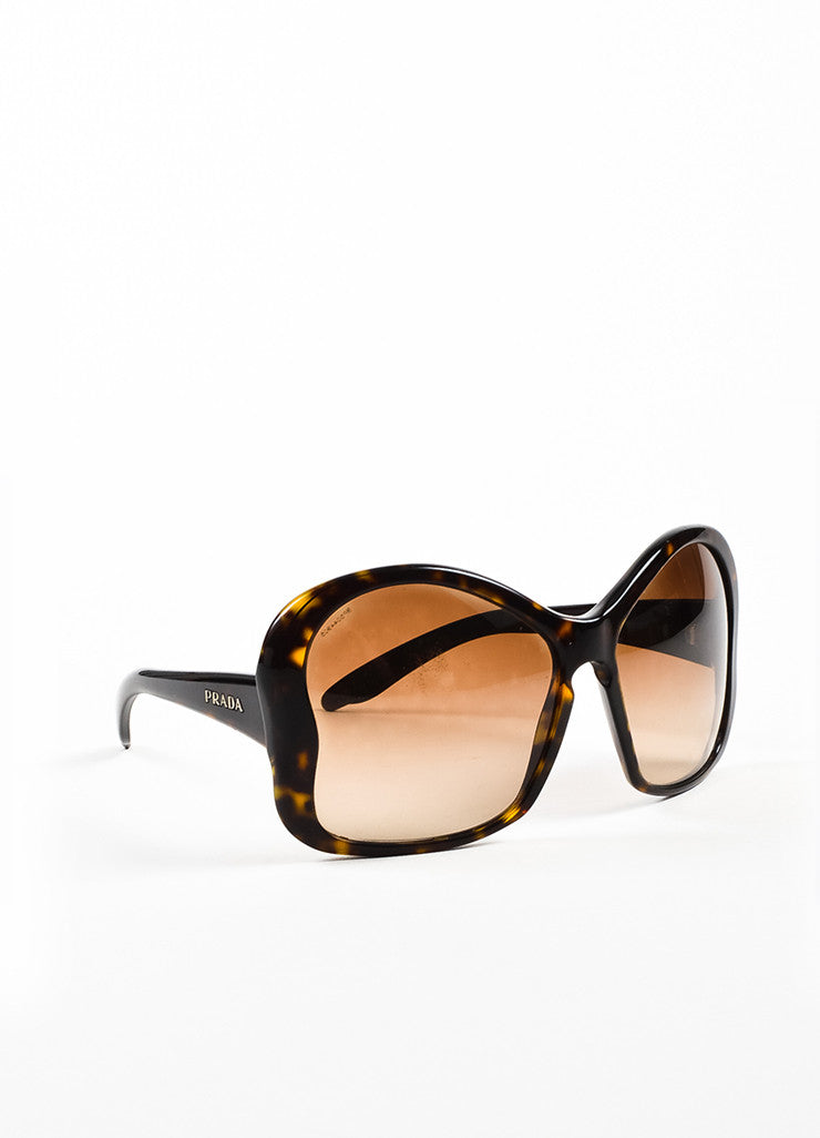 "Brown Prada Tortoise Shell ""Butterfly"" Oversized Sunglasses Front"