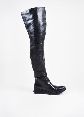 Prada Sport Black Leather Thigh High Side Zip Heeled Boots Sideview