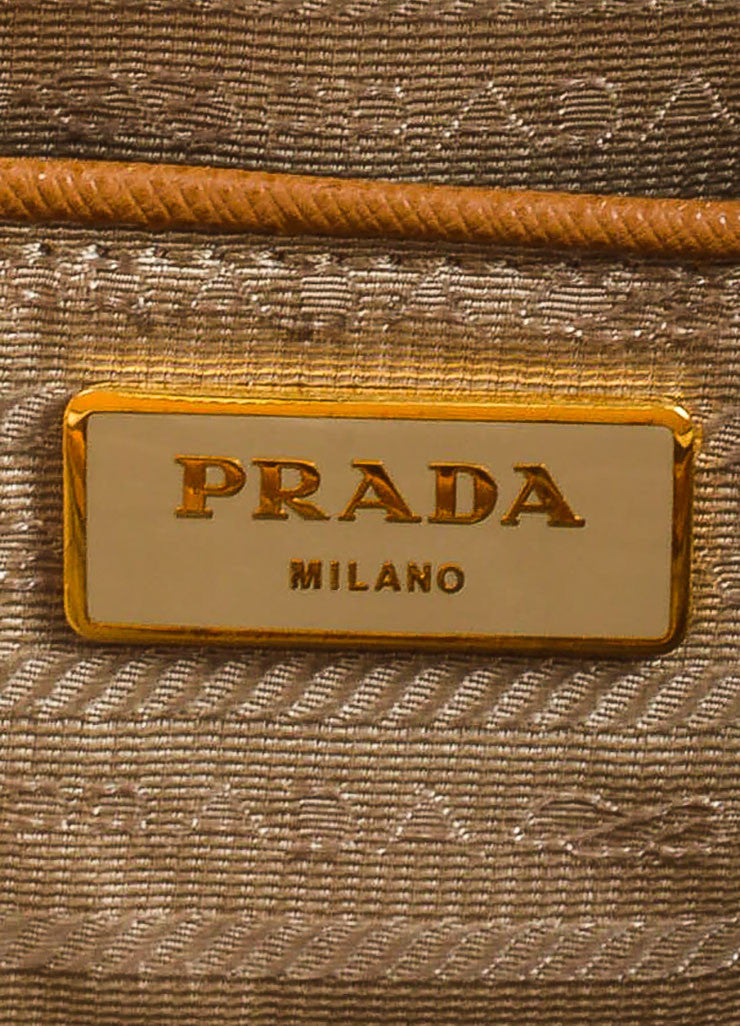 "Prada Tan Leather ""Saffiano Lux Gardener's"" Dual Compartment Tote Bag Brand"