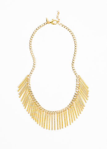 Rebecca Minkoff Gold Toned Chain Link Studded Bar Fringe Bib Necklace Front 2