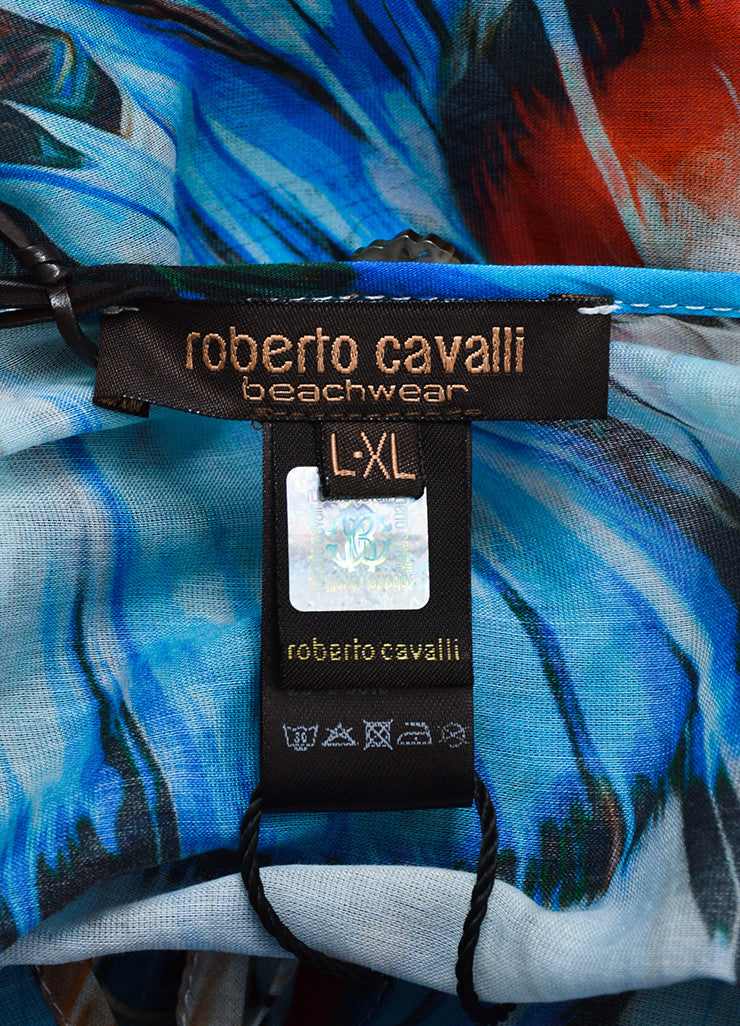 Roberto Cavalli Blue Silk Knit Feather Belted Caftan Brand