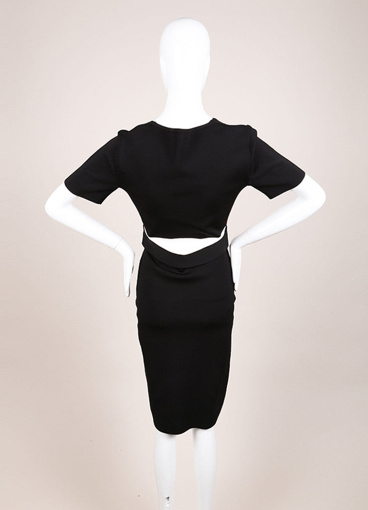 "Roland Mouret New With Tags Black, White, and Maroon Stretch Bodycon ""Cassida"" Dress Backview"
