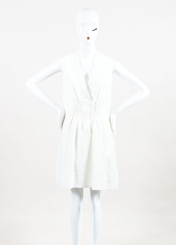 Sea New York White Cotton Quilted V-Neck Pleated Sleeveless Dress Frontview