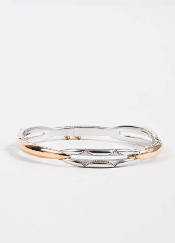 Tacori Sterling Silver and 18K Rose Gold Promise Lock Key Bangle Bracelet Frontview