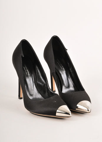 Tania Spinelli Black and Silver Toned Metal Pointed Cap Toe Satin Pumps Frontview