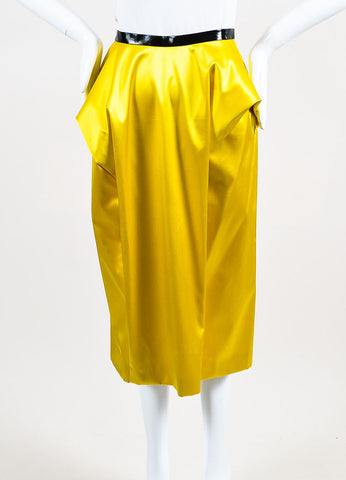 Toga Yellow Silk Patent Trim Pleated Midi Pencil Skirt Frontview