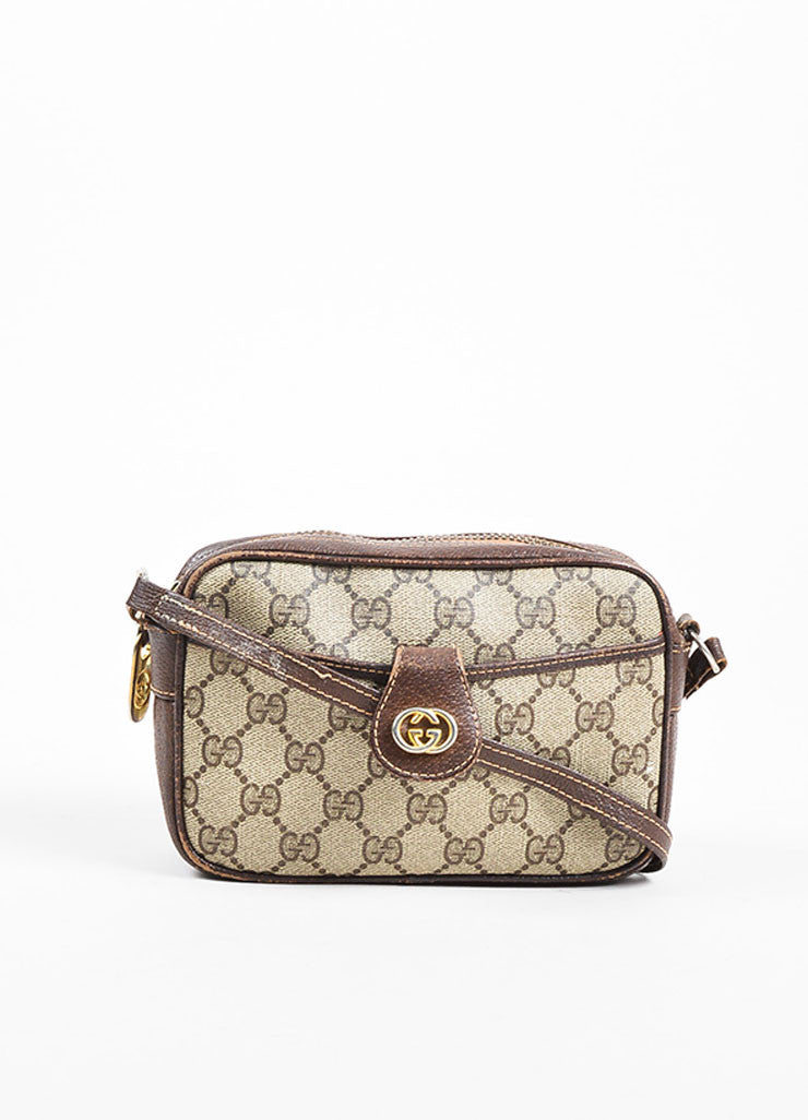 Gucci Beige and Brown Coated Canvas and Leather 'GG' Monogram Cross Body Bag Frontview