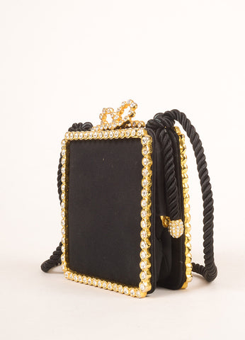 Kenneth Jay Lane Black and Gold Toned Rhinestone Bow Clasp Square Clutch Bag Sideview