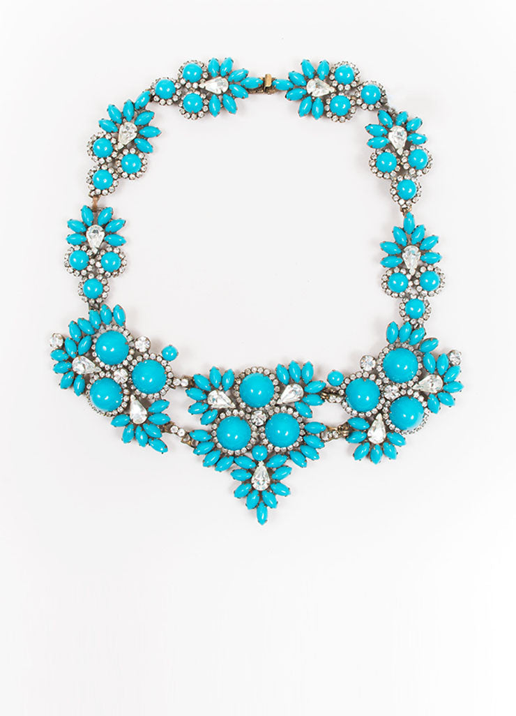 Brass Toned and Teal Gem Rhinestone Crystal Kenneth Jay Lane Bib Necklace Frontview