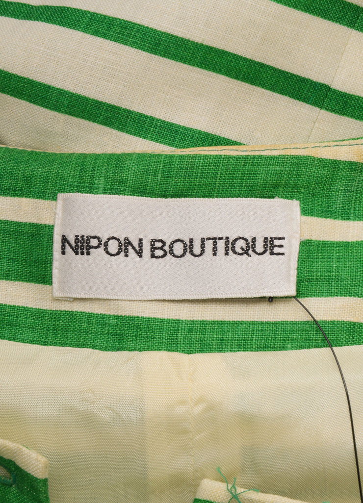 Nipon White and Green Striped Linen Button Up Short Sleeve Dress Brand
