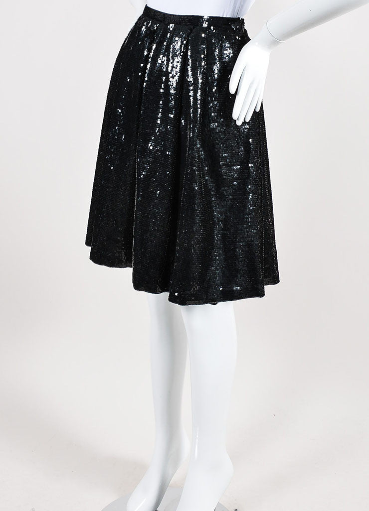 Black Valentino Silk Sequin Embellished Pleated Knee Length A-Line Skirt Sideview