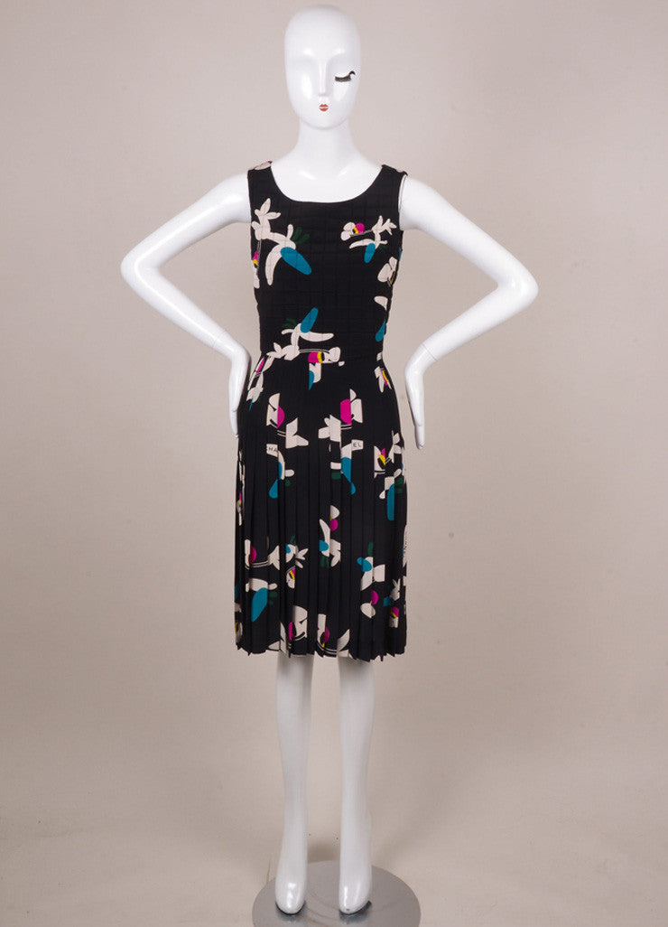Chanel Black, White, and Teal Floral Print Silk Quilted Dress Frontview