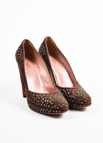 Brown Alaia Suede Studded Platform Pumps Front