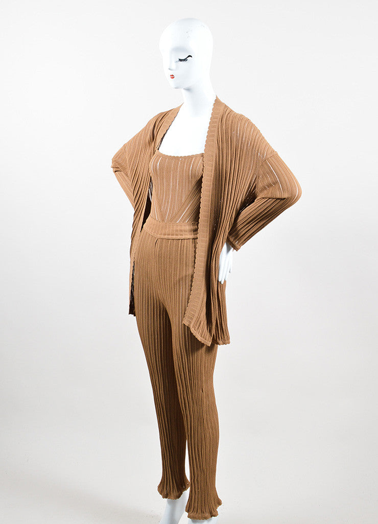 Camel Tan Knit Alaia Bodysuit, Wide Leg Pants, and Cardigan Three Piece Set Sideview