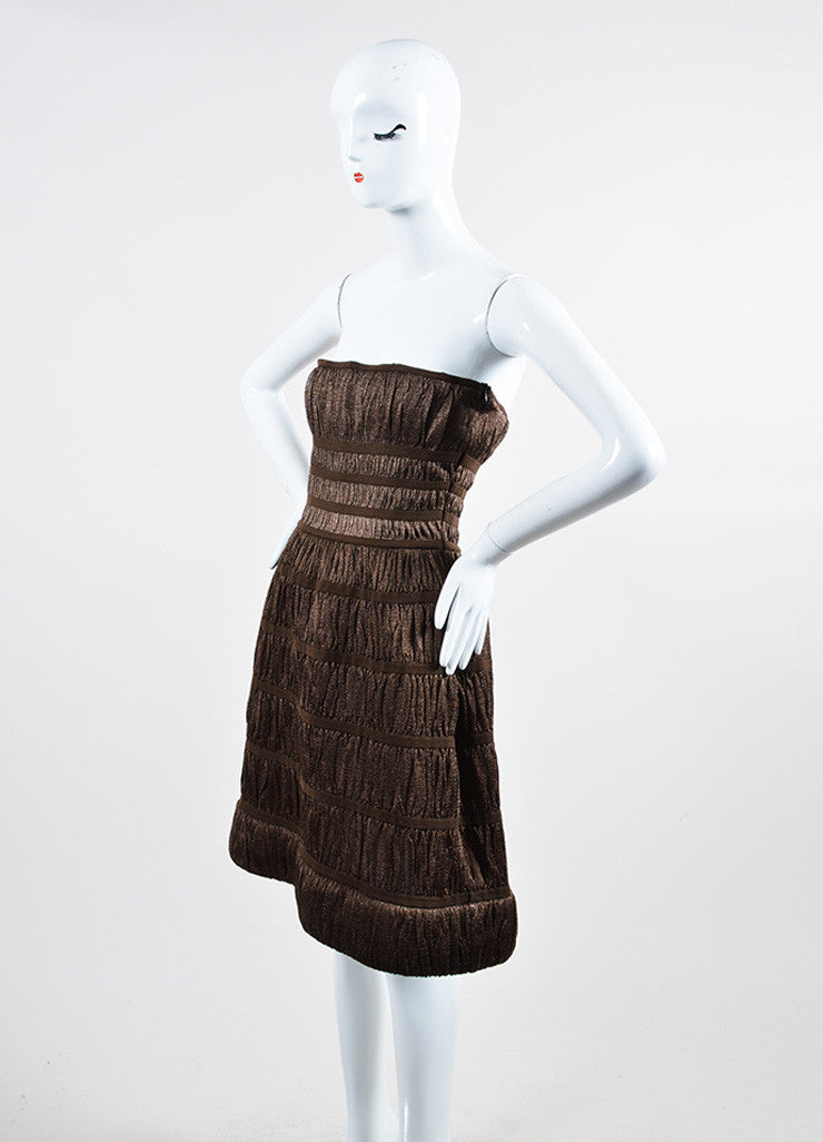 Metallic Brown Alaia Corset Strapless Dress Sideview