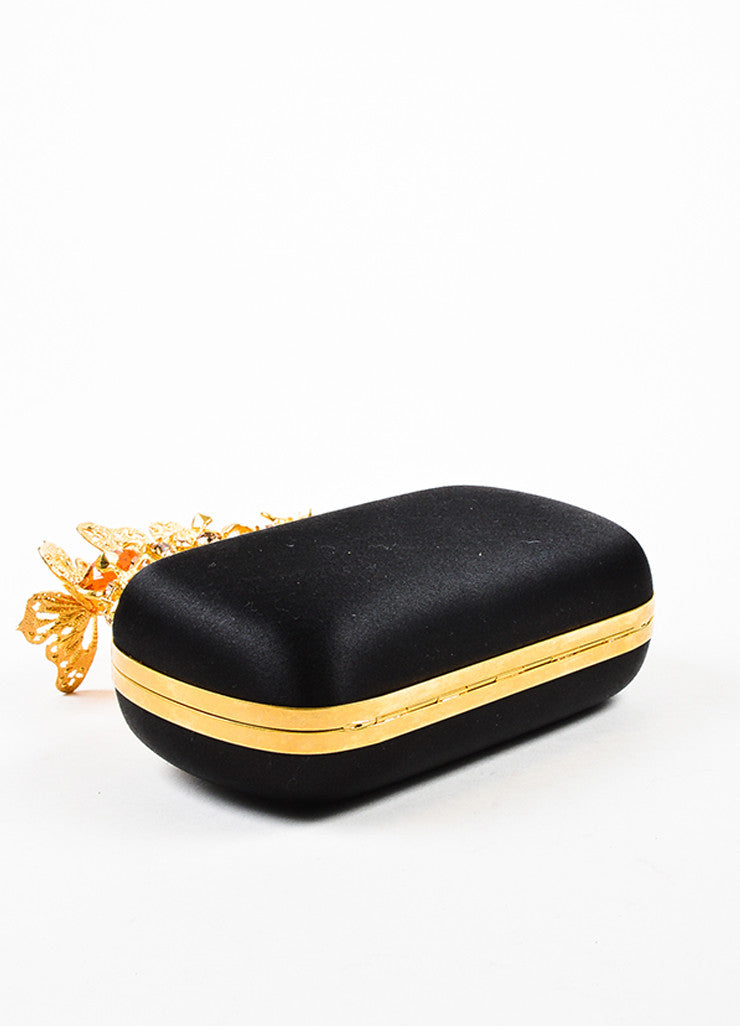 Alexander McQueen Black Satin Gold Toned Crystal Butterfly Knuckle Clutch Bag Bottom View