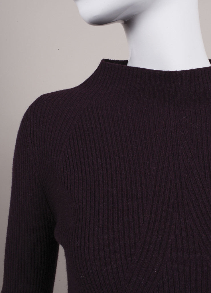 Alexander McQueen New With Tags Purple Wool and Cashmere Mock Neck A-Line Sweater Detail