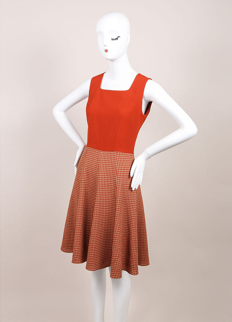 Andrew Gn New With Tags Tan, Orange, and Red Wool Blend Houndstooth Skater Dress Sideview