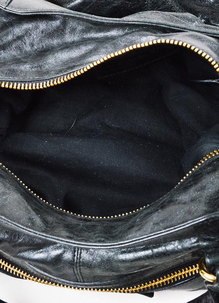"Balenciaga Black and Gold Toned Leather ""Giant Brief"" Tote Bag Interior"