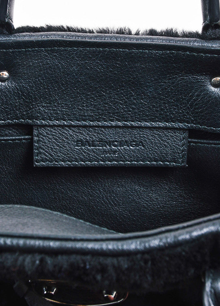 "Balenciaga Black Leather Faux Fur ""Shearling Mini Papier"" Tote Bag Brand"