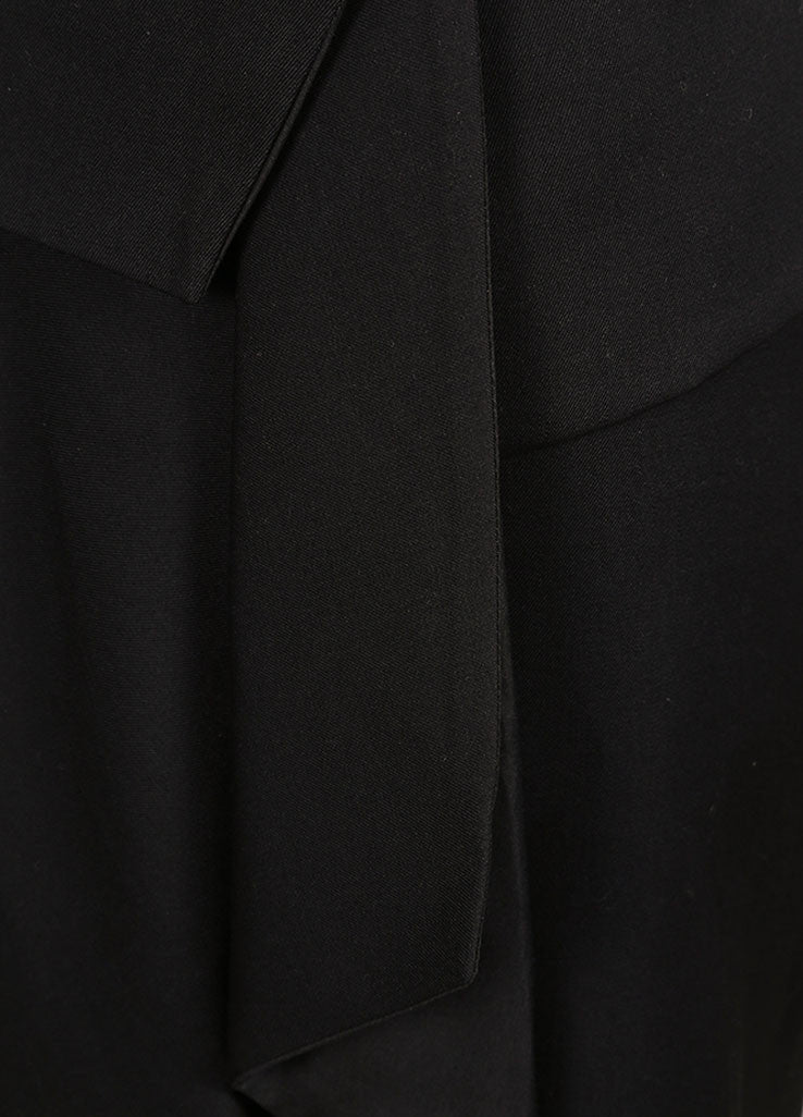 Balenciaga Black Wool and Silk Blend Layered Wrap Front Drape Skirt Detail