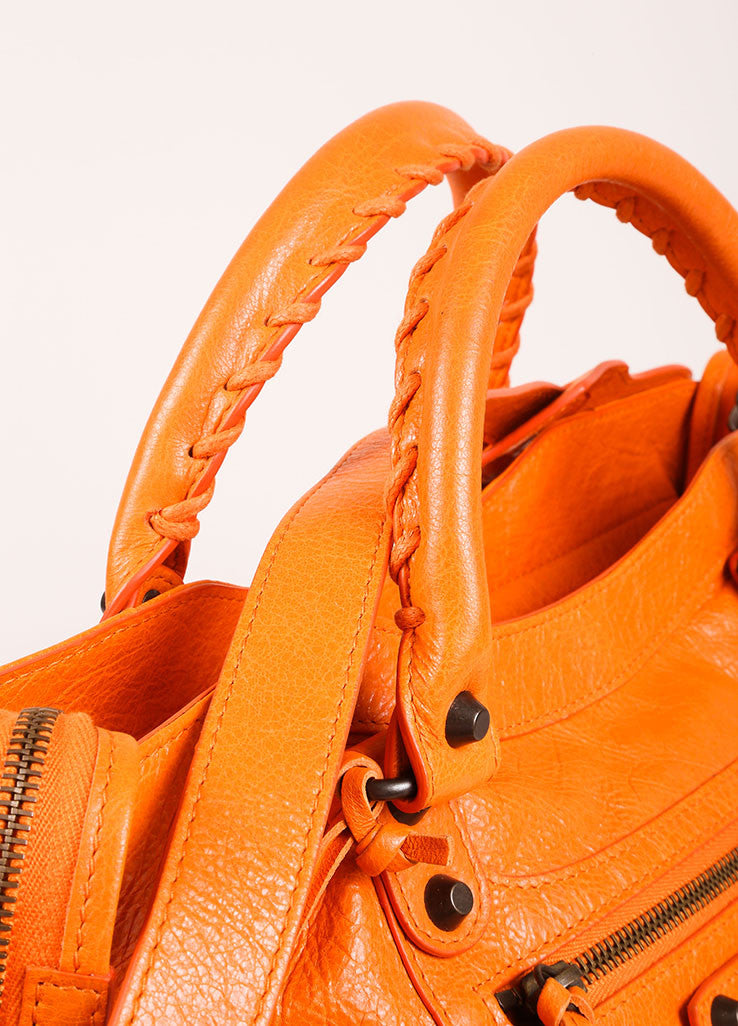"Balenciaga New With Tags Orange Stud Accent Crossbody ""Velo"" Satchel Bag Detail 2"