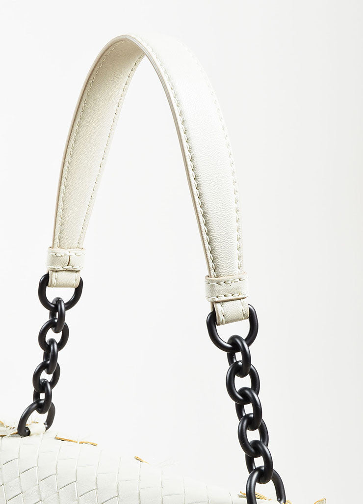 "Bottega Veneta White Woven Leather Fringed ""Olimpia Tobu"" Shoulder Bag Detail 2"