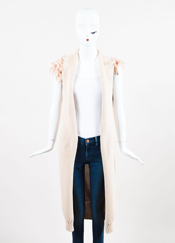 Brunello Cucinelli Nude Cotton Knit Woven Ruffle Sleeve Long Cardigan Vest Frontview