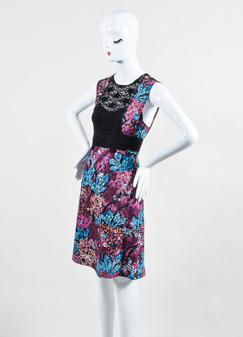 Purple, Blue, and Black Burberry Prorsum Floral Lace Inset Dress Sideview