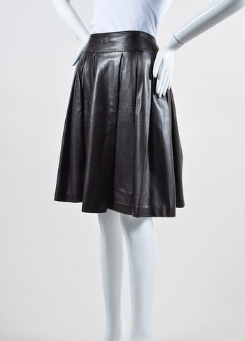 Burgundy Brown Chanel Leather Pleated A-Line Skirt Sideview