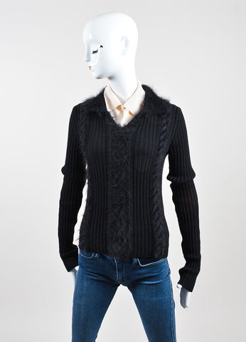 Black and Cream Chanel Wool, Silk, and Angora Long Sleeve Ribbed Furry Sweater Frontview