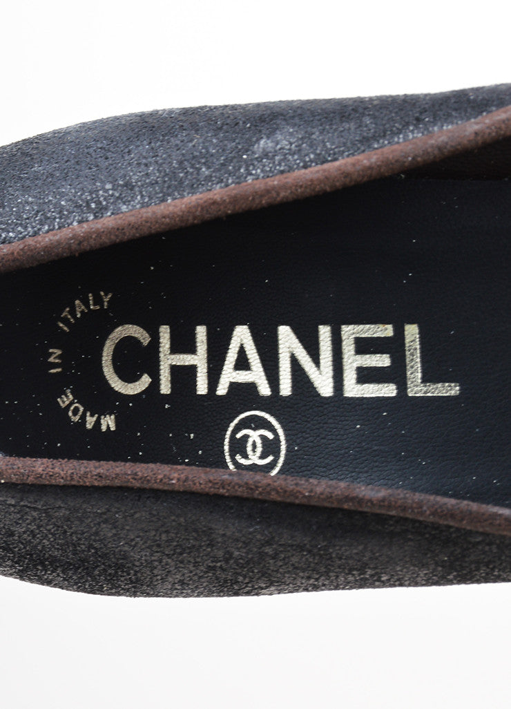 Black and Brown Chanel Crackled Leather Cap Toe Pumps Brand
