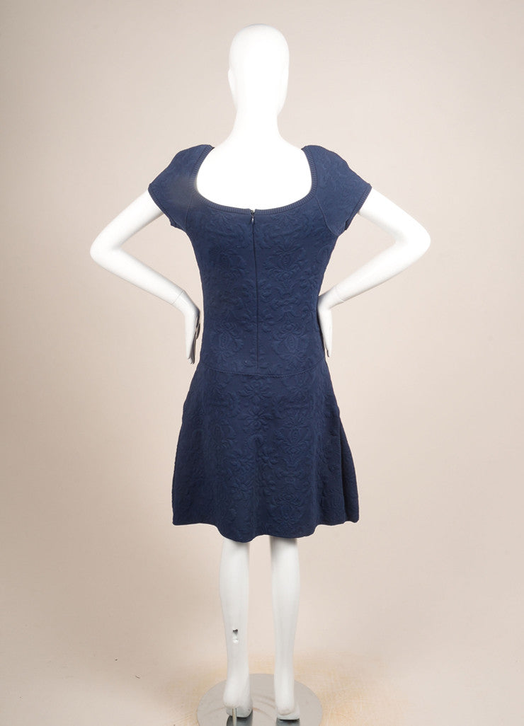 Chanel Blue Brocade Cap Sleeve Stretch Dress Backview