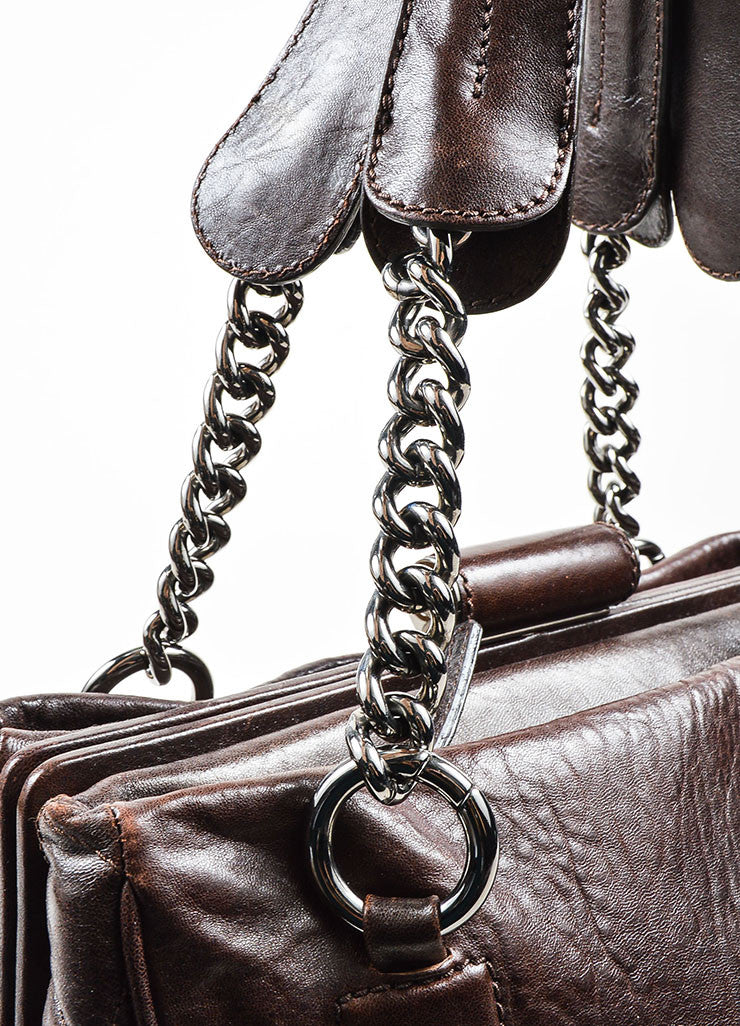 Brown Chanel Lambskin Leather Quilted 'CC' Chain Strap Doctor Tote Bag Detail 2