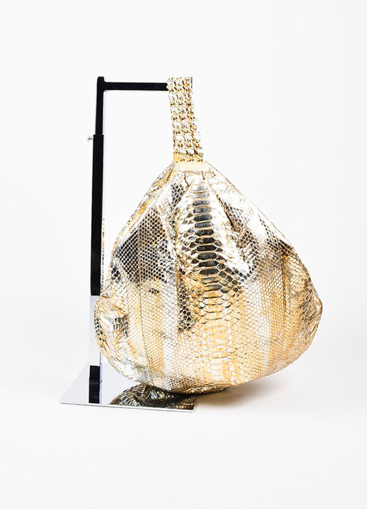 "Gold Chanel Metallic Python ""Rock and Chain"" Hobo Bag Side"