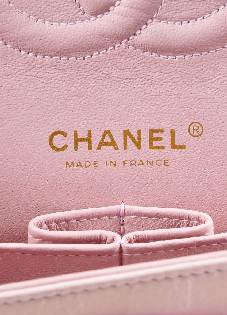 "Chanel Light Pink and Gold Toned Quilted Tweed Chain Strap ""CC"" Double Flap Bag Brand"