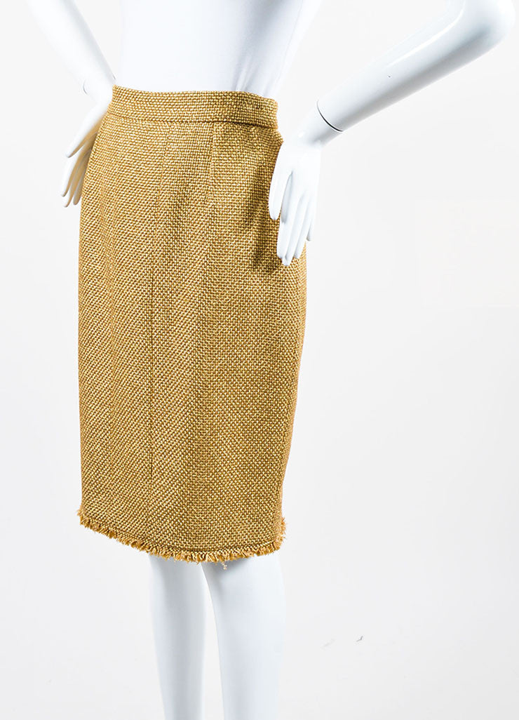 Metallic Gold Chanel Tweed Fringe Pencil Skirt Sideview