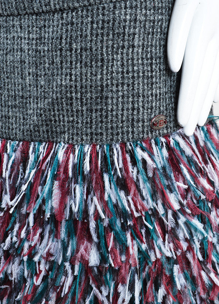 Chanel Grey, Green, and Red Wool Ostrich Feathers Skirt Detail