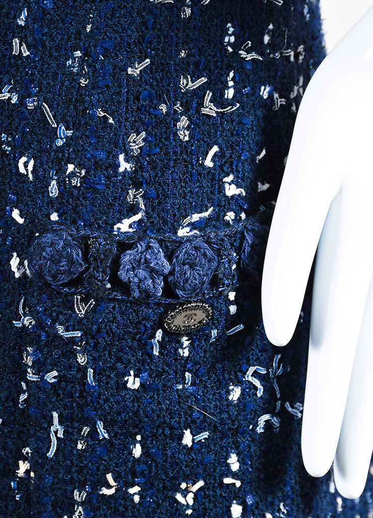 Navy Blue Chanel Tweed Confetti Embellished Sleeveless Shift Dress Detail