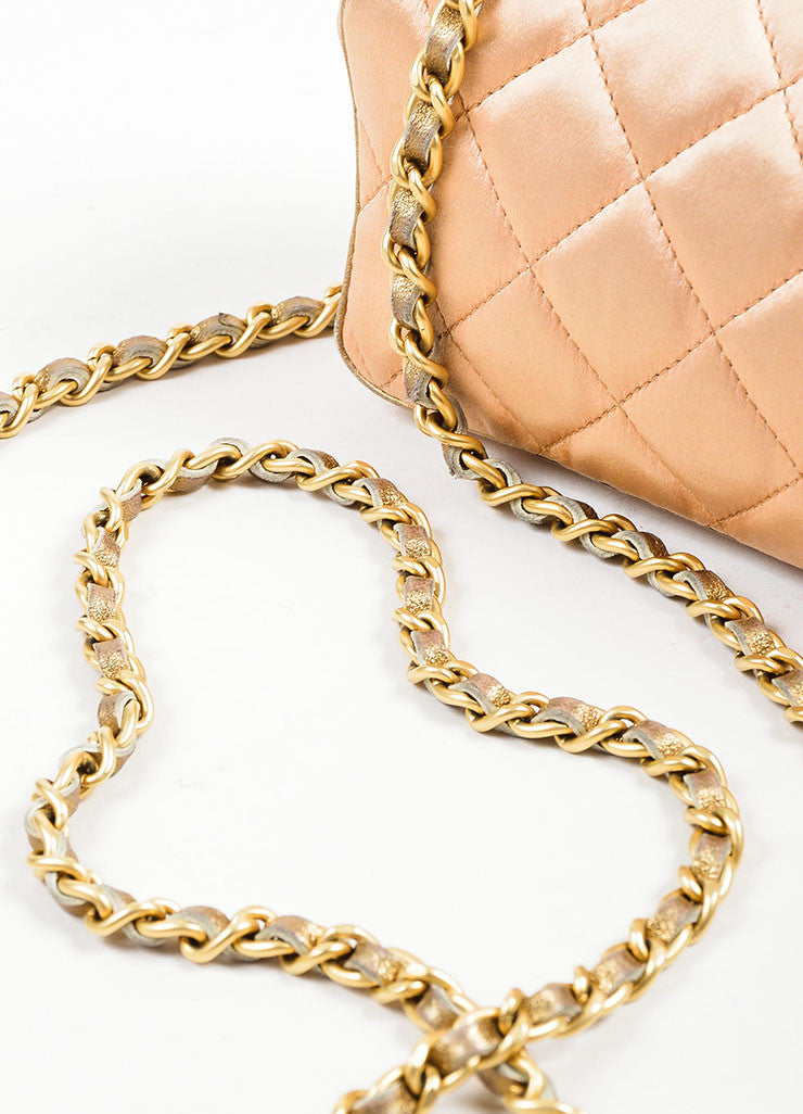 Pink, Pewter, and Gold Toned Chanel Satin and Leather Mini Classic Quilted Flap Evening Bag Detail 2