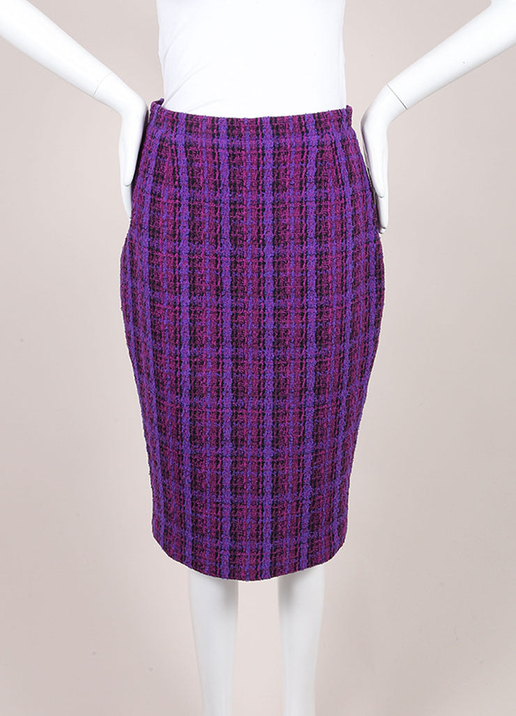 Chanel Purple, Black, and Multicolor Wool Tweed Woven Plaid Pencil Skirt Frontview