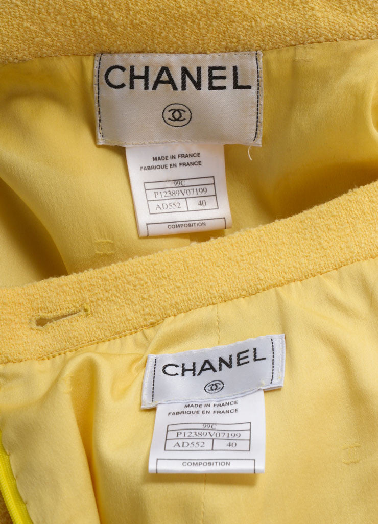 Chanel Yellow Wool Knit Jacket and Skirt Suit Brand