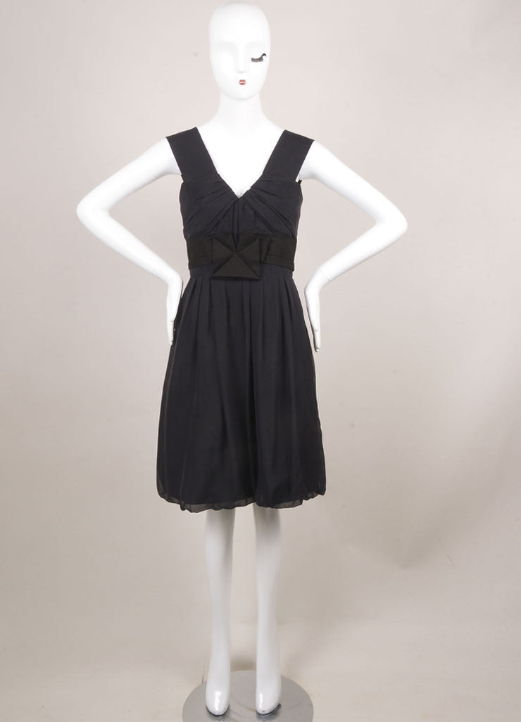 Chloe Black Cotton and Silk Sleeveless Fit and Flare Ruched Cocktail Dress Frontview