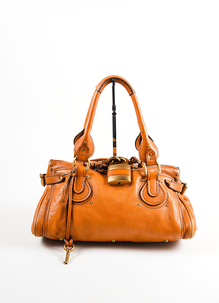 "Brown Chloe Leather Oversized Lock ""Paddington"" Satchel Handbag Frontview"
