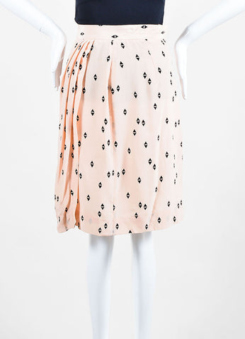 Pink and Black Christian Dior Silk Geometric Print Skirt Knee Length Skirt Frontview