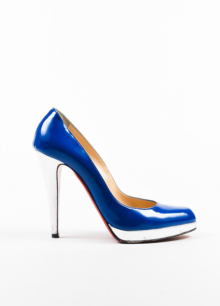 "Christian Louboutin Blue and Silver Patent Leather ""Decolzep"" Pumps Sideview"