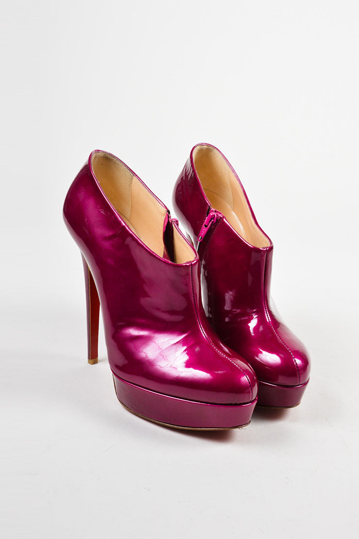 "Christian Louboutin Magenta ""Moulage 140"" Platform Heeled Booties Frontview"