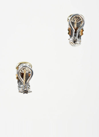 "Sterling Silver, 18K Yellow Gold, and Diamond David Yurman ""Metro"" Huggie Hoop Earrings Backview"