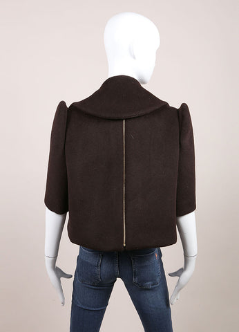 Delpozo New With Tags Brown Wool and Angora Blend Embellished Scarf and Over Shirt Backview