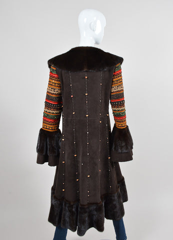 Brown Dennis Basso Suede Leather and Fur Beaded and Embroidered Draped Long Coat Backview